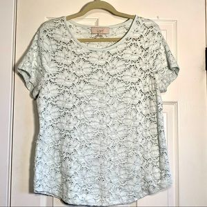Ann Taylor LOFT aqua lace stretchy top